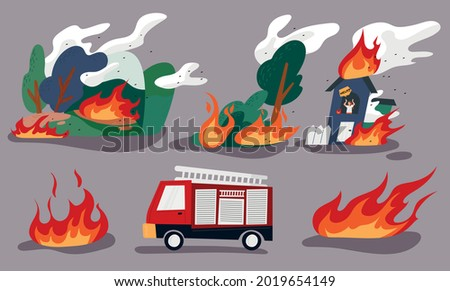 A burning forest, a man trapped in a burning house, and a fire engine. flat design style minimal vector illustration. Foto stock ©