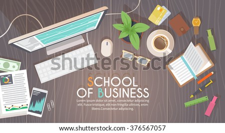 A business activity. Workplace. Office. Work in a team. Business school training. Objects lying on a wooden table. The web banner. Modern flat design. #1