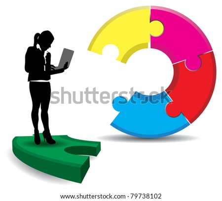 a business lady on an abstract jigsaw background
