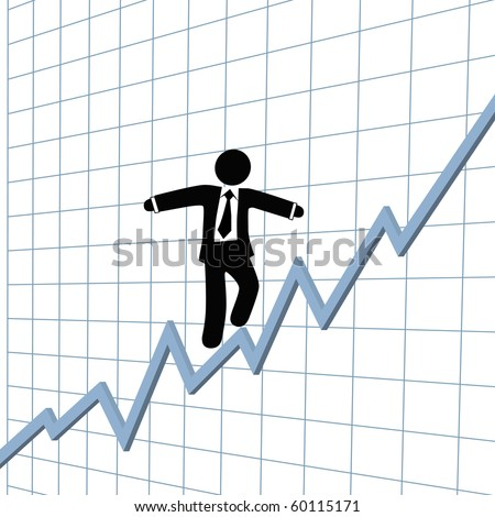 A business man climbs up risk tightrope on growth chart.