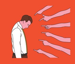 A business man is bowing his face. Many fingers blame a man. hand drawn style vector design illustrations.