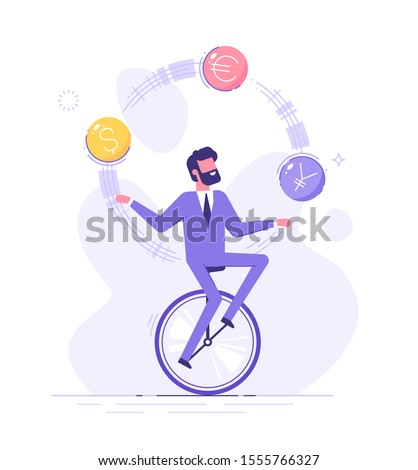 A business man is riding on unicycle and juggling different currency signs. Currency exchange service and trading concept. Flat vector illustration.