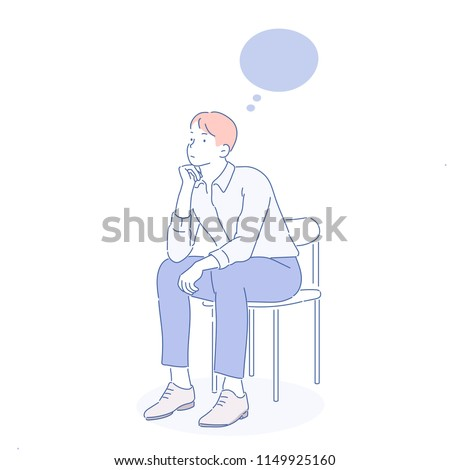 A business man is sitting on a chair and is worried. hand drawn style vector design illustrations.