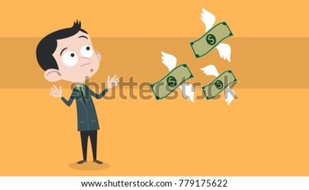 a business man loosing his money with flying illustration