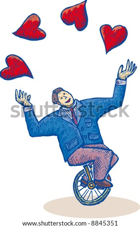 a business man on a mono-cycle is playing with some hearts. Illustration in engrave style