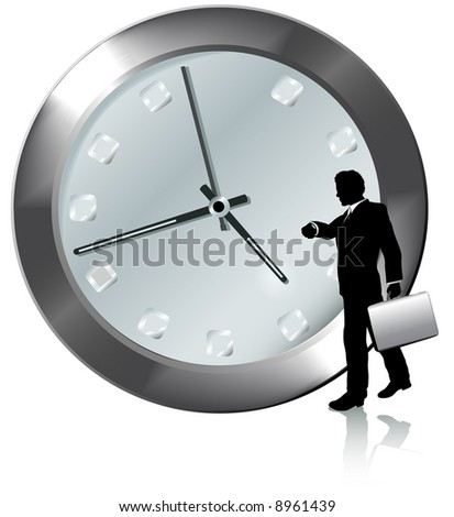 A business man on time or late for appointment walks, watches the time on his wrist watch.
