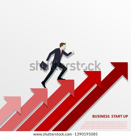 A Business man steps up stairs to successful point, Steps to starting a business success. Businessman walking up on red arrow, Arrow stairs, Concept start up business, Vector illustration flat