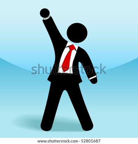 A business man stick figure raises his arm fist up in gesture of success.