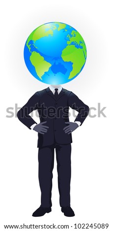 A business man with a globe for a head. Business concept for looking at the big picture or global strategic planning