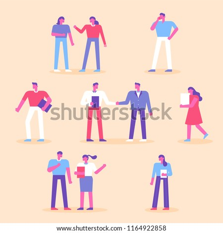 a business meeting with the working people. flat design style vector graphic illustration set