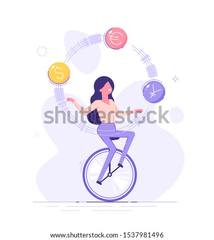 A business woman is riding on unicycle and juggling different currency signs. Currency exchange service and trading concept. Flat vector illustration.