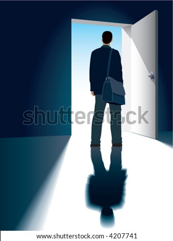 A businessman and an open door