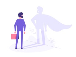 A businessman casts a shadow of a superhero in a cape on the wall. Business motivation and training concept. Vector illustration.