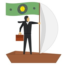 A businessman floats in a boat with a sail and a paper dollar with a light bulb instead of a flag. Idea, financial profit, successful management and other concepts. Vector illustration.