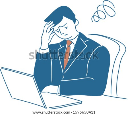 A businessman having trouble and concern. Vector flat illustration. ストックフォト ©