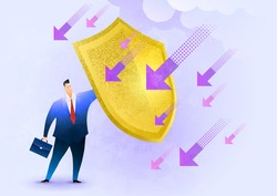 A businessman holding a shield to protect himself from falling arrows. Risk averse, financial safety, and business insurance. Conceptual vector illustration.