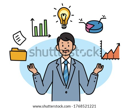 A businessman is explaining with both hands raised and icons are floating around him. hand drawn style vector design illustrations.  Foto stock ©