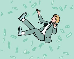 A businessman is floating in the air and money is blowing in the background. hand drawn style vector design illustrations.