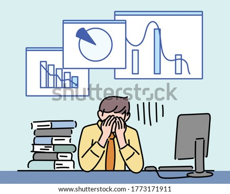 A businessman is frustrated by the falling graph. hand drawn style vector design illustrations.