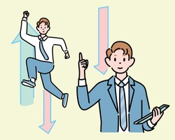 A businessman is holding his finger up. Another businessman is jumping. hand drawn style vector design illustrations.