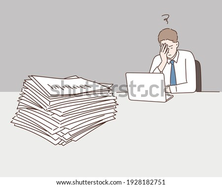 A businessman is overworked. Hand drawn style vector design illustrations.