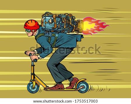 a businessman is riding a