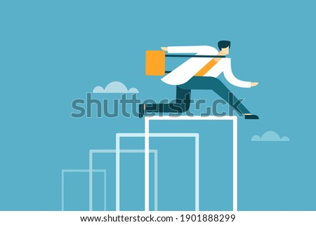 A businessman moves ahead by jumping all hurdles Stock photo ©