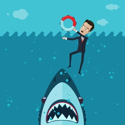 A businessman or manager fighting for his life in the ocean, in his hand a lifeline, a huge shark underwater, Vector illustration in flat, cartoon style isolated from the background, EPS 10