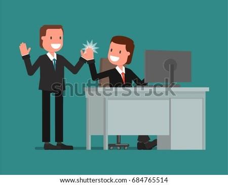 A businessman praises a subordinate for a good job. Vector illustration, a flat style design.
