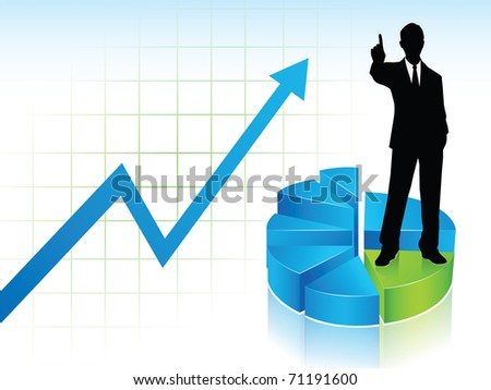 A businessman silhouette standing on a graph stairs, showing his finger to say Number One, on a statistic chart background, blue and green. - stock vector