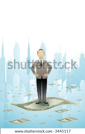 A businessman standing on a flying money