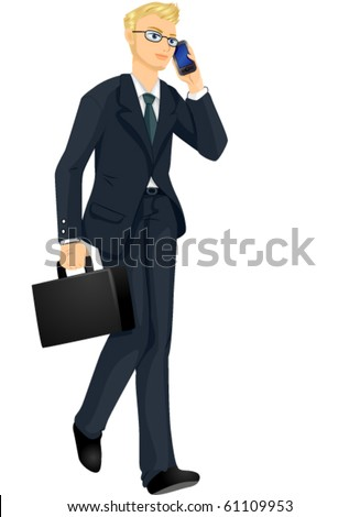A Businessman Talking with Someone on the Phone - Vector - stock vector