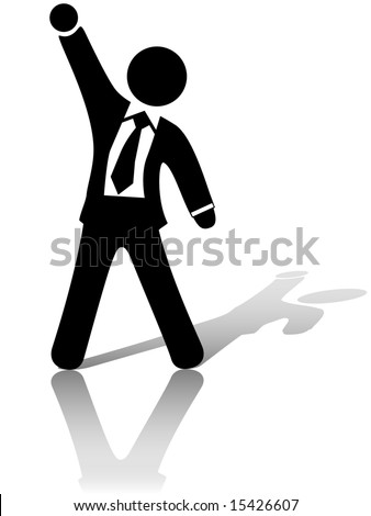 A businessman with arm and fist raised up in the air to celebrate a business success or other achievement.