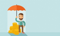A businessman with beard standing holding umbrella protecting his money to investments, money management. Saving money for any storm problem will come. Business concept.A contemporary style with