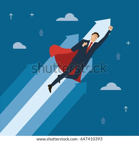 a businessman with red cape to success vector, business concept illustration