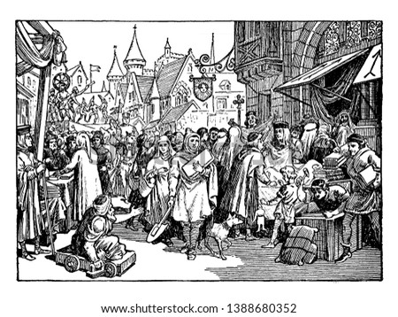 A bustling street fair in France during the 13th century. Numerous people crowd the streets, selling and buying various wares. In the foreground, a crippled man on a cart begs passer-by, vintage