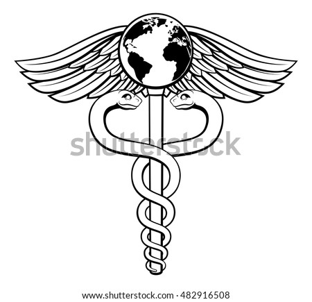 A caduceus medical symbol concept of a medical or hearth care icon with a world globe earth on the top