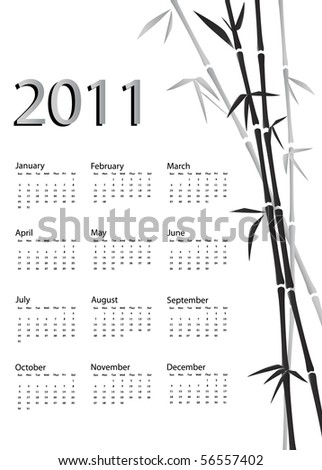 A 2011 calendar. Chinese style with bamboo background in black and white. EPS10 vector.