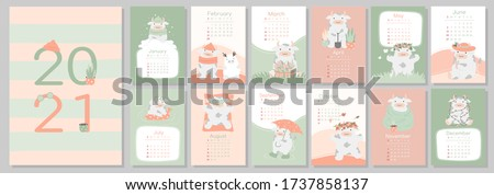A4 calendar or planner 2021 kawaii cartoon ox, bull or cow, symbol of new year, cute characters. Cover and 12 monthly pages. Week starts on Monday, vector