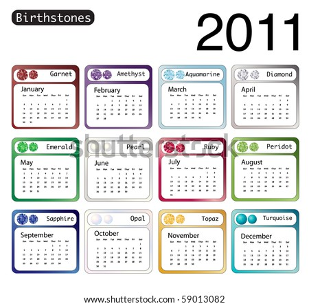 stock vector : A 2011 calendar showing birthstones for each month.