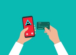 A call from a fraudster to a smartphone. An insecure connection. A hacker who steals bank card data. The hacking of the phone database. Phone fraud, hacker attack, scam and cybercrime. Vector.