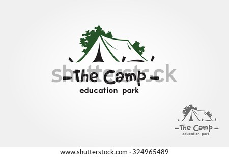 A camp logo design template vector for your design. it's good for symbolize of out door activity such a camping, hiking, picnic or it's also good for a recreation park logo.