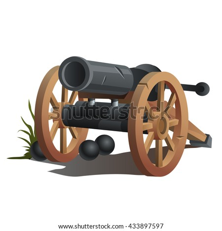 a cannon with cannonballs