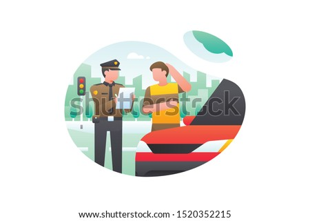 A Car Driver Was Ticketed By The Police For Violating Traffic Lights. Transportation Vector Illustration Foto stock ©