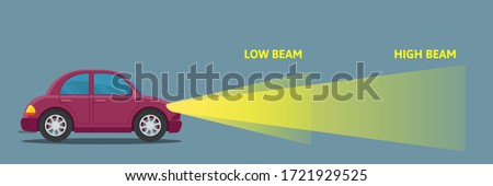 A car with low and high beam. Diagram for comparing the headlights for low and high beam. Side view. Vector illustration, flat design, cartoon style, isolated background. Сток-фото ©
