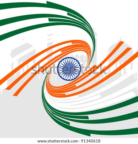A card of Republic Day, Indian flag in wave style on seamless background for Republic Day.