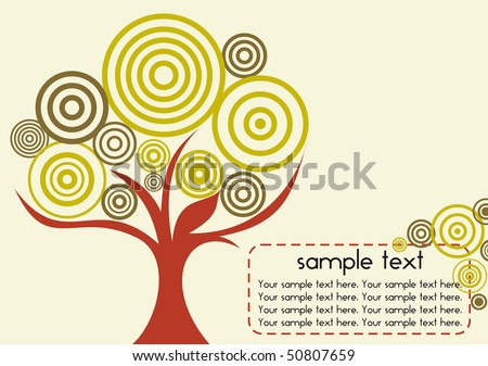 A card with stylized tree and place for your text