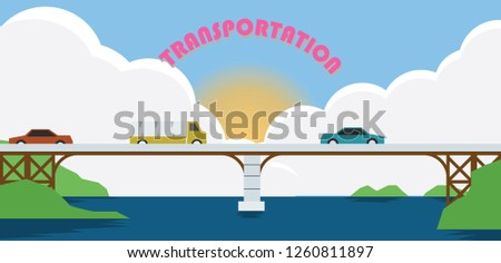 A Cars long-distance transportation across the river by bridges.