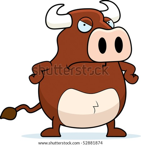 A cartoon bull with an angry expression.