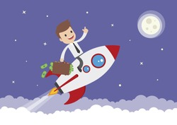 A cartoon businessman on a space rocket with briefcase full of money